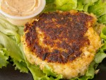 Golden crab cake from Keys Fisheries in the Florida Keys.
