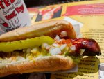 Char-broiled hot dog from Ted's Hot Dogs in Buffalo, New York.