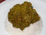 A Sierra Leonean cassava leaf plasa stew from a restaurant in Freetown, Sierra Leone
