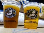 Two cups of beer from Brooklyn Brewery in New York City.