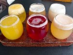 A sampler of local fruit beer from Beer Factory in Mexico City.