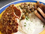Locally sourced food, eggs, sausage, and pancakes from the Lake Effect Diner in Buffalo.