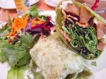 A club wrap of vegetarian ingredients from Real Food Daily in Los Angeles.