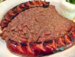 Red beans and rice with spicy andouille sausage in New Orleans, LA