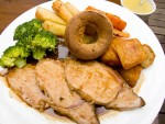A typical Sunday roast lunch, with roast beef and Yorkshire pudding, from a pub in London, England