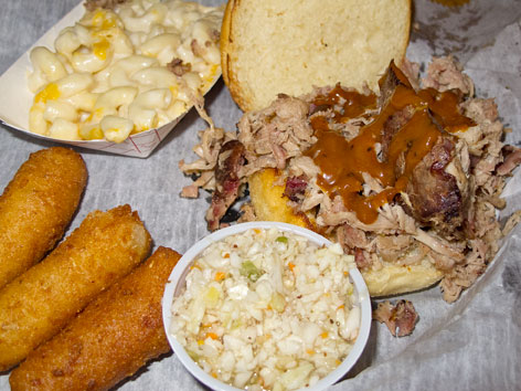 North Carolina BBQ specialties from Luella's BBQ in Asheville.