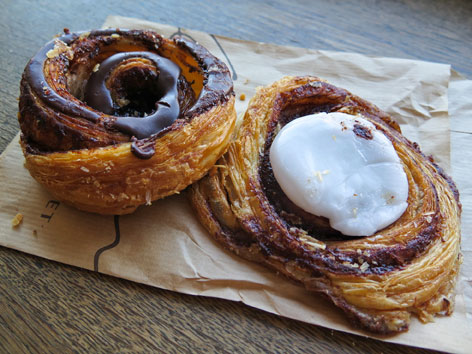 Kanelsnegl and direktorsnegl pastries from a Copenhagen bakery, Denmark.