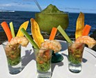 Tequila Grilled Shrimp Shooter and Mojito Caribe Frozen